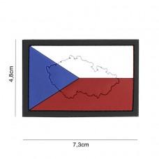 Nášivka vlajka ČR s mapou 3D (velcro)
