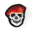 Nášivka Lebka s baretem - červená