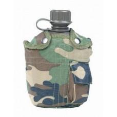 US polní láhev s obalem - zelená, černá